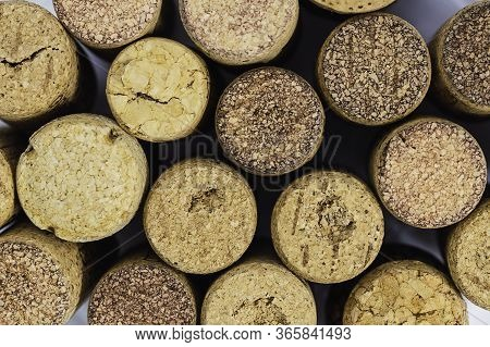 Aerial View Of Some Cork Stoppers Cork Stoppers Made Of Cork With Different Shapes And Sizes