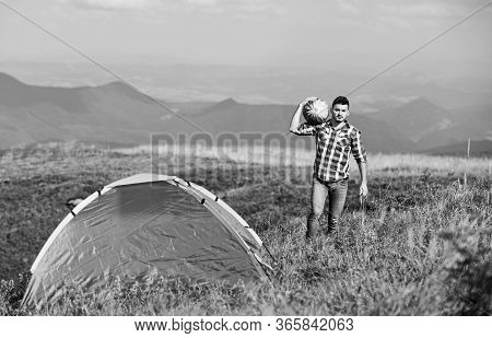 Summer Camping. Man Hold Watermelon. Fruits And Vitamins. Mountain Camping. Man Live In Tent. Hiking