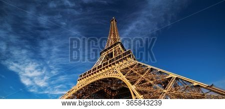 blu sky and Eiffel tower, Paris. France