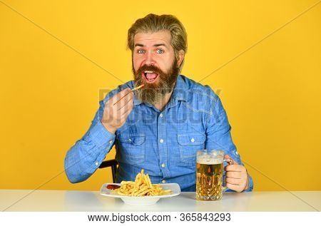 Bar Restaurant. Cheerful Man Bearded Hipster Drinking Beer. Friday Party Concept. Good Appetite. Con