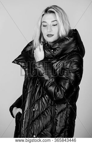 Gorgeous Fashionable Blonde. Girl Enjoy Wearing Bright Jacket With Hood. Warm Coat. Comfortable Down