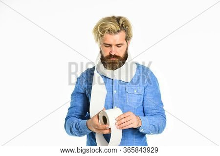 Softness Strength And Absorbency. Man Hold Toilet Paper. Prevent Toilet Paper Hoarding. Shortage Of