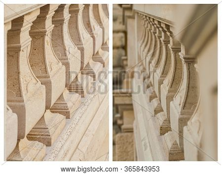 Set, Antique, Outdoor Stairs And Balustrades. Detail Banister With Beige Sandstone. Architecture Sto