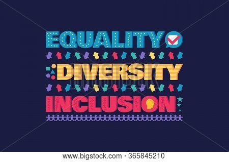 Diversity Banner Or Flyer With Lettering, Equality