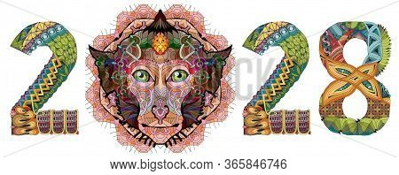 Zentangle Stylized Monkey Number 2028. Hand Drawn Lace Vector Illustration