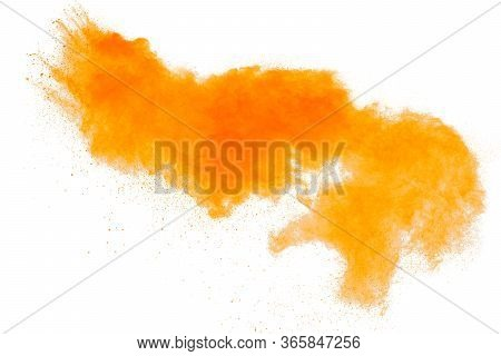 Orange Powder Dust Particles Explosion On White  Background.orange Dust Particles Splash.
