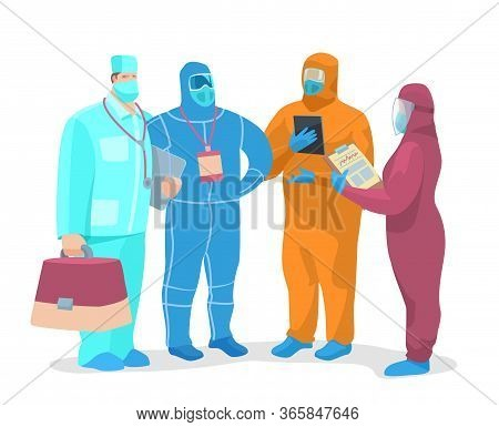 Vector Stock Illustration A Team Of Virologists Discussing, Working On A Pandemic Problem.