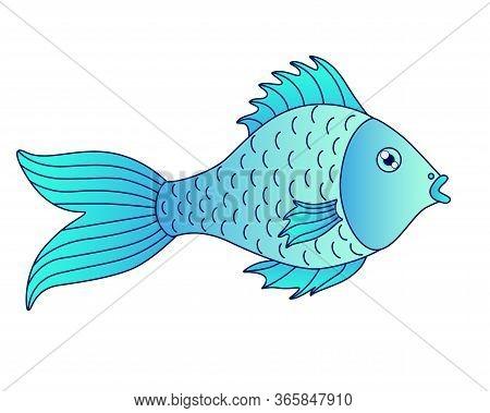 Light Blue Fish. Small River Or Aquarium Fish - Vector Full Color Picture. Cartoon Baby Fish - Illus