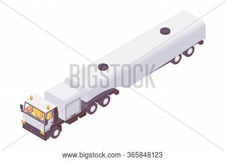 Isometric Aviation Fuel Truck. Plane Refueling Lorry Tanker