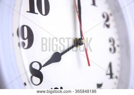 Closeup Odern Wall Clock White, Time And Period, Office Timepiece And Mockup With Hour And Minute, H