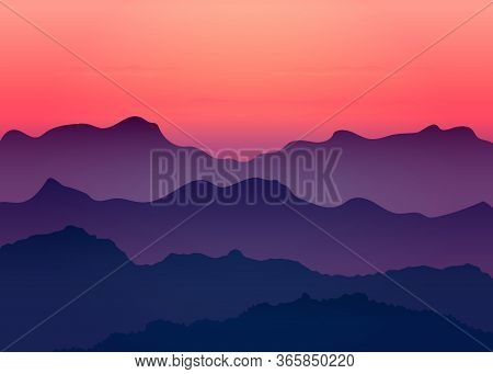 Beautiful Dark Gradient Purple Mountain Landscape With Fog And Forest. Sunrise And Sunset In Mountai