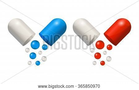 Capsule Icons 3d Realistic, Blue And Red Pills Isolated On White Background. Colored Small Balls Fal