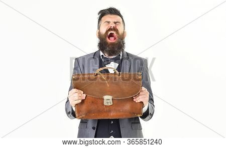 Screaming Man Concept. Angry Man Screaming With Vintage Briefcase