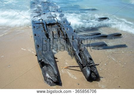 Shipwreck On Sandy Beach Of Lake Michigan, Sleeping Bear Dunes National Lakeshore, Michigan