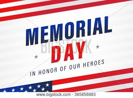 Memorial Day Light Stripes Banner With Flags. Happy Memorial Day Background With American Flag And T