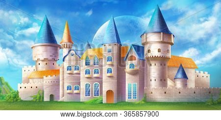 Beautiful And Magical Castle In A Bright Day. Fantasy Backdrop. Concept Art. Realistic Illustration.