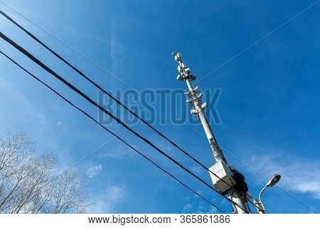 Telecommunication Tower With Microwave Equipment, Radio Panel Antennas, Outdoor Remote Radio Units,