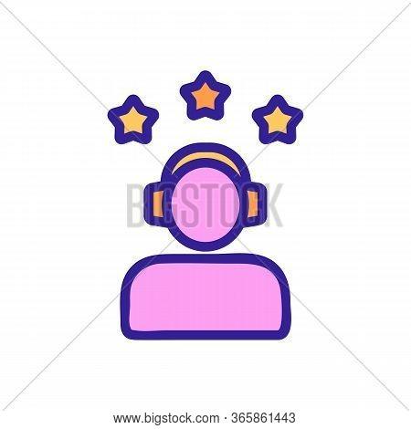 Three Star Gamer Icon Vector. Three Star Gamer Sign. Color Symbol Illustration
