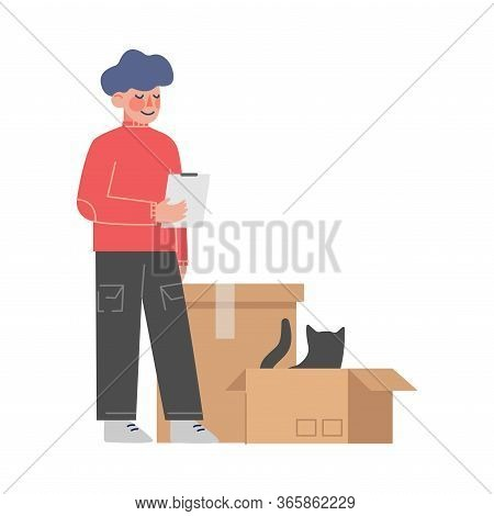 Boy Packing Or Unpacking His Belongings, Kid Moving To New Home Vector Illustration