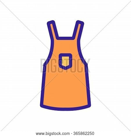 Protective Work Apron Icon Vector. Protective Work Apron Sign. Color Symbol Illustration