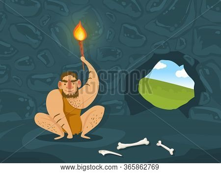 Prehistoric Caveman In Animal Skin Sitting In Dark Cave With Burning Torch, Primitive Man Character
