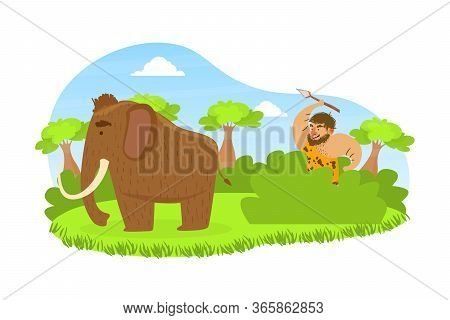 Prehistoric Caveman Sitting In Ambush With Spear, Primitive Man Hunting For Mammoth On Stone Age Nat