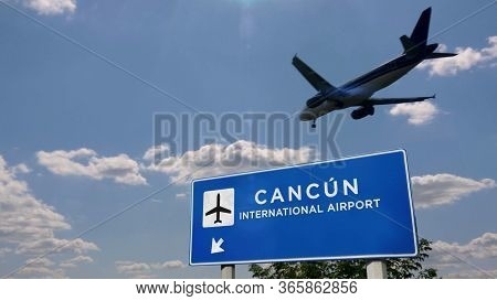 Airplane Silhouette Landing In Cancún, Mexico (cancun). City Arrival With International Airport Dire