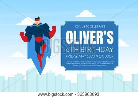 Superhero Birthday Invitation Card Template, Brave Muscular Superhero Character In Blue Waving Cloak