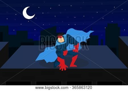 Brave Muscular Superhero Character In Blue Waving Cloak Sitting On Top Of Roof At Night City Cartoon