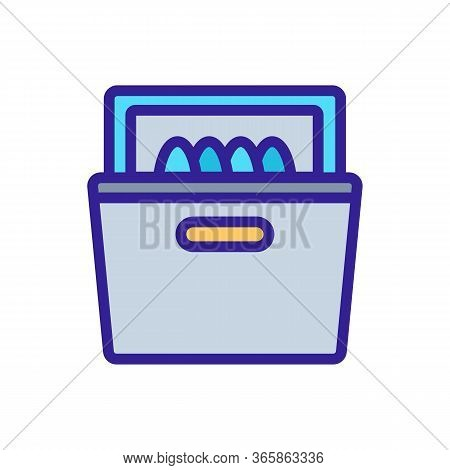 Washed Dishes In Dishwasher Icon Vector. Washed Dishes In Dishwasher Sign. Color Symbol Illustration