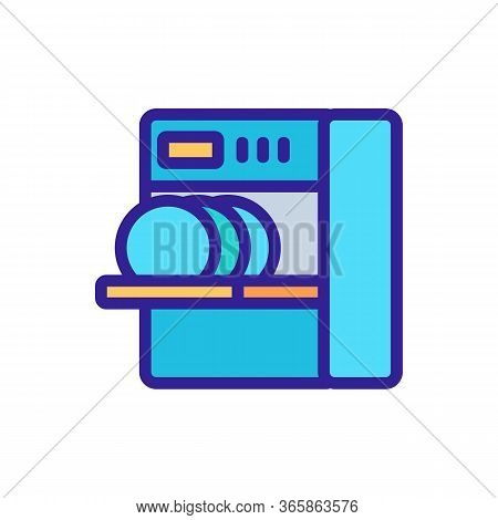 Loading Dishes Into Dishwasher Icon Vector. Loading Dishes Into Dishwasher Sign. Color Symbol Illust