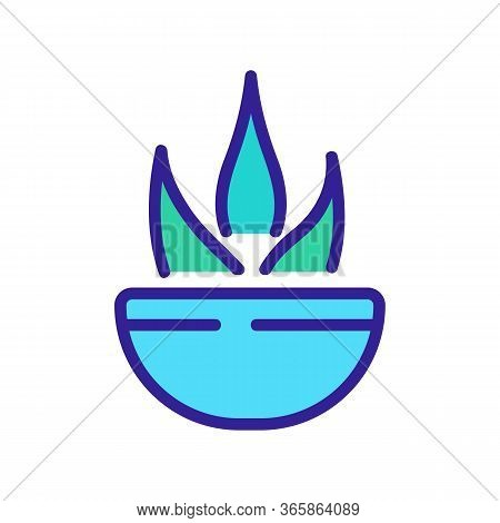 Agave In Bowl Icon Vector. Agave In Bowl Sign. Color Symbol Illustration