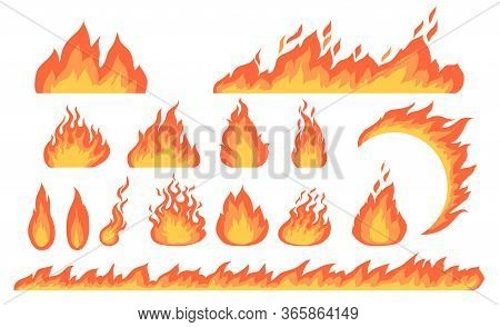 Cartoon Fire Flames Flat Vector Collection. Cartoon Car Speed Igniting Symbol, Campfire Fiery Silhou