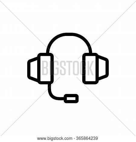 Headphone With Integrated Microphone Icon Vector. Headphone With Integrated Microphone Sign. Isolate