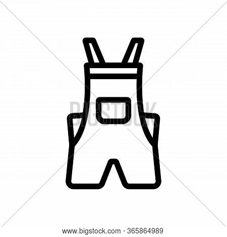 Shortened Coveralls Icon Vector. Shortened Coveralls Sign. Isolated Contour Symbol Illustration