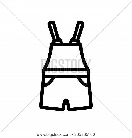 Working Short Jumpsuit With Shorts Icon Vector. Working Short Jumpsuit With Shorts Sign. Isolated Co