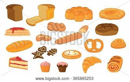 Various Breads Flat Vector Collection. Cartoon Loafs, French Baguettes, Croissant, Buns, Ciabatta, B