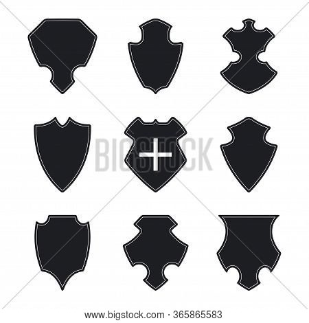 Shield, Crest, Badge Black Silhouette Vector Icons Set Isolated On A White Background.