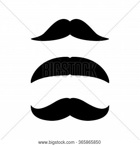 Set Of Mustaches. Black Silhouette Of Moustaches. Vector Illustration Isolated On White