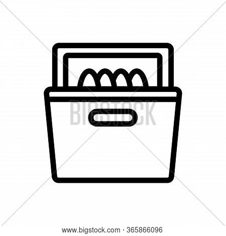 Washed Dishes In Dishwasher Icon Vector. Washed Dishes In Dishwasher Sign. Isolated Contour Symbol I