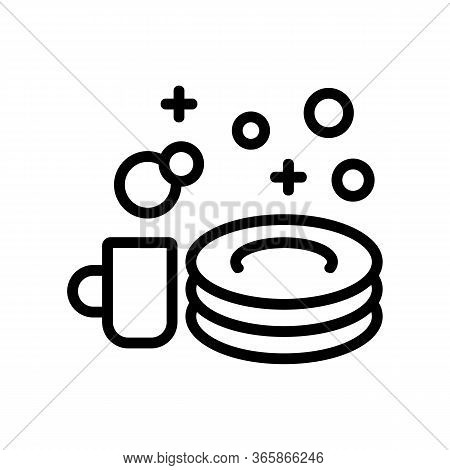 Shine Of Washed Dishes Icon Vector. Shine Of Washed Dishes Sign. Isolated Contour Symbol Illustratio