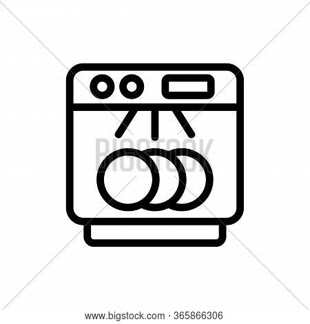 Clearly Visible Dishes In Dishwasher Icon Vector. Clearly Visible Dishes In Dishwasher Sign. Isolate