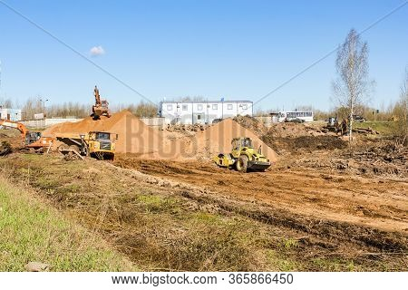 Kirishi, Russia - 8 May, Cleaning Areas From The Forest, 8 May, 2020. Start Of Construction Of A Mot