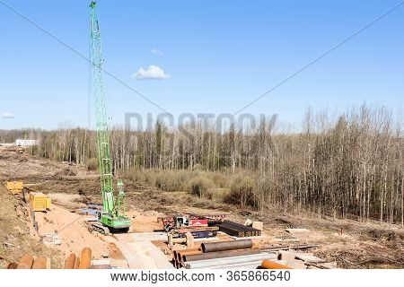 Kirishi, Russia - 8 May, Self-propelled Crane At The Construction Site, 8 May, 2020. Start Of Constr