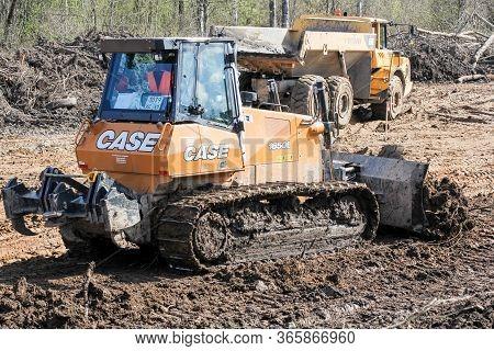 Kirishi, Russia - 8 May, Medium Bulldozer At Leveling Works, 8 May, 2020. Start Of Construction Of A