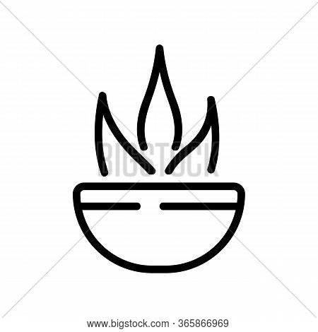Agave In Bowl Icon Vector. Agave In Bowl Sign. Isolated Contour Symbol Illustration