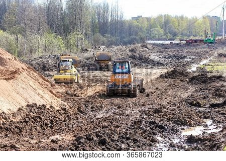 Kirishi, Russia - 8 May, Dirty Earthworks At The Site, 8 May, 2020. Start Of Construction Of A Motor