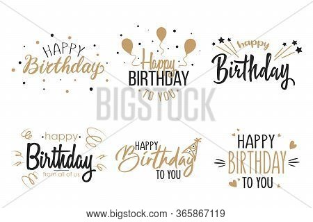 Greeting Birthday Party Calligraphy Flat Icon Collection. Isolated Handwritten Black And Gold Inscri