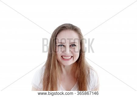 Exited Grinning Woman With Expression On Her Face, Close-up Portrait Of Natural Attractive Female Is
