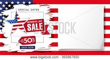 Memorial Day Usa Brush Paint Poster, Special Offer Sale Up To -50% Off. Happy Memorial Day Backgroun